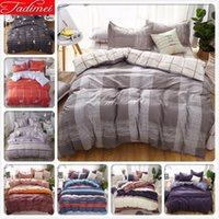 Wholesale king size bedding set grey for sale - Group buy Grey Plaid Creative Duvet Cover Bedding Set Adult Kids Soft Cotton Bed Linen Single Twin Queen King Size x220 x230