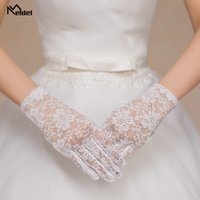Wholesale wedding dress accessories wrist resale online - Wedding Accessories Bridal Gloves Lace Print Gloves Ladies Banquet Dress Wrist Length White Fingered Gloves