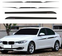 bmw etiqueta de rendimiento al por mayor-Car Styling M Performance Accent Side Stripes Decals Film Falda lateral de vinilo Pegatinas de cintura para BMW F30 F31 3 Series Sport