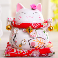 ingrosso decorazione cinese della scatola-ornamenti casa 6 pollici Maneki-Neko ceramica cinese Lucky Cat Beckoning Fortune Cat figurine portafortuna salvadanaio ornamenti decorazione della casa