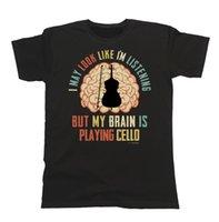 ingrosso corde del violoncello-Maglietta da donna per uomo My Brain Is Playing CELLO Music Tee Strings Gift Funny