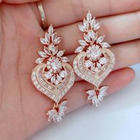 Wholesale chandelier earring cz online - Trendy Cubic Zirconia Drop Clear Micro Cz Dangle Drop Earrings Chandelier Shape Wedding Bridal Earring For Dubai Women Ce187e J190519