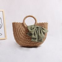 Wholesale diamond resorts for sale - Group buy Straw bag female woven bag beach bag fairy bowknot is pure and fresh and portable seaside resort