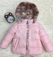 зимняя розовая куртка для девочки оптовых-Новые Легкие детские зимние куртки Детская хлопковая куртка для девочек Верхняя одежда Толстовки Дети Розовое детское пальто 763