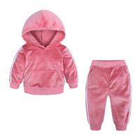 Wholesale double pearl ear resale online - Free DHL Autumn Kids Boys Tracksuits Ears Sports Baby Boys Hoodies with Pants pieces Set Outwears Winter Velvet Toddler Kids Clothing Suits