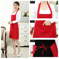 Wholesale pinafores kitchen resale online - New Women Men Pockets Bib Kitchen Soil Release Solid Colors Home Cloth Simple Cooking Baking Adjustable Art Drawing Pinafore
