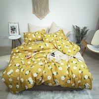 edredones de flores amarillas azules al por mayor-Reina Rey tamaño suave 100% algodón del lecho la hoja de cama de la cremallera funda nórdica amarillo vibrante azul Flores consolador cubierta de almohada