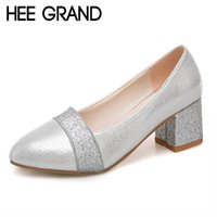 Wholesale vamp shoe heel for sale - Designer Dress Shoes HEE GRAND Women s Pumps PU Leather Round Toe Thick Heels Bling Vamp Woman Solid Ladies XWD6817