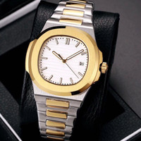Wholesale second hand glass resale online - free delivery high quality mens watch automatic movement Glide sooth second hand sapphire glass silver and gold wristwatch