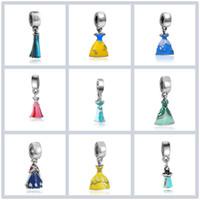 esmalte de liga venda por atacado-Princesa Esmalte Vestido de Prata Banhado A Menina Saia Cinderela Liga Charme Beads Oscilar Europeu Jóias DIY Acessórios