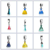 Princess Enamel Dress Pendant Silver Plated Girl Skirt Cinderella Alloy Charm Beads Dangle European DIY Jewelry Accessories