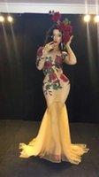 roter fischschwanzrock großhandel-Maßgeschneiderte Show DjDs Gast Gogo Sexy Red Connected Rose Tail Fishtail Rock Bühnenkostüm