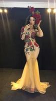 jupe en queue de poisson rouge achat en gros de-Personnalisé Spectacle DjDs Invité Gogo Sexy Rouge Connecté Rose Queue Fishtail Jupe Étape Costume