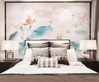 flor de arte mural al por mayor-Waterlily Flower Wallpaper Roll Murals 3D Mural para dormitorio Photo Wall Papers Wall Art Decor Floral Canvas Contact Paper Custom