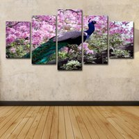 Wholesale peacock paintings piece for sale - Group buy 5 Piece HD Printed Canvas Art Peacock Color Feather Painting Home Decor Pink Flower Wall Pictures for Living Room