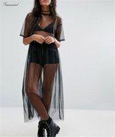 черное короткое платье прозрачное оптовых-Сексуальное Новое платье Женщина черная марлевые сетки See Through Прозрачной Мода короткого рукав Sheer Причинных Длинных Maxi платье Outwear