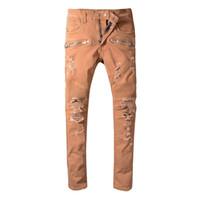 Wholesale tie dye ties men online - 2019 New Mens Jeans Luxury Distressed Ripped Biker Jeans Slim Fit Motorcycle Biker Denim For Men High Quality Hip Hop Designer Jeans