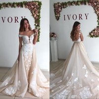 8ad0b0775f1 Wholesale removable off shoulder wedding dress online - Vintage Ivory Detachable  Skirt Wedding Dress Sexy Off