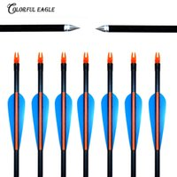 "12PCS Lots 31.5"" 30"" 29"" 28""Spine 500 with blue Feather Fiberglass Arrow for Recurve Bow Arrow or compound Bow arrows target Practice"
