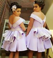 mini vestidos de novia arco al por mayor-Lavanda Vestidos de dama de honor Diseño único 2019 Nueva Big Bow Satin Wedding Vestidos de invitados Vestido Junior Maid Of Honor
