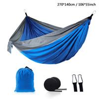 ingrosso altalene all'aperto all'aperto-Outdoor paracadute amaca in tessuto pieghevole campeggio altalena appeso letto amache in nylon con corde moschettoni 12 colori DH1338