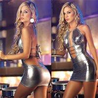 sahne için seksi elbiseler toptan satış-Kadınlar Seksi Deri Mini Elbise Kadın Seksi Gecelik Gece Kulübü Pole Temptation Ürün Lady Sahne üniforma Dans Wear