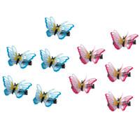 tecido borboleta cabelo venda por atacado-10 pcs Dupla camada 3D Borboleta Grampo de Cabelo Bordado Tecido de Renda Barrette Acessório Do Cabelo para Senhoras Meninas mulheres