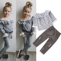 Wholesale baby jean sets resale online - Retail baby girl designer clothes outfits plaid top long hole jeans Clothing Sets girls outfits baby tracksuit kids boutique Clothes