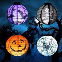 colores claros de calabaza al por mayor-4 Colores Plegable LLEVÓ la Calabaza de Papel Linterna de Halloween Murciélago Araña Cráneo Colgante Al Aire Libre Lámpara de Luz Atrezzo Decoraciones Caseras Del Partido