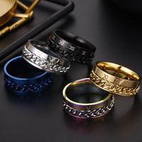 bagues en chiffres romains pour femmes achat en gros de-Chiffres romains bagues de fiançailles Spinner Chain Ring en acier inoxydable chaîne en gros Mens bijoux designer de luxe bijoux femmes bagues