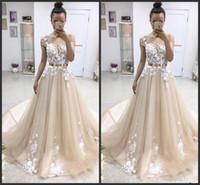 Wholesale multi button dress resale online - 2019 New Latest Short Sleeve Long Prom Dresses Appliques Lace Button Back Tulle Chapel Train Evening Party Dresses