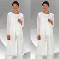 anne gelin pantolon uymak kolları toptan satış-Beyaz Anne Üç Adet Anne Gelin Pant Suits Uzun kollu Ceketler Düğün Konuk Elbiseler Artı Boyutu Boncuklu Anneler Damat Elbise