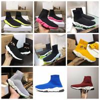 renkli üst üst spor ayakkabılar toptan satış-Hız Eğitmeni Çorap Sneaker Erkekler Yüksek Top Çorap Ayakkabı Kadın Renk Sole Rahat Ayakkabılar Tasarımcı Kayma-ON Hız Eğitmeni Sneaker Ile Kutu
