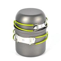 Wholesale aluminum camping cookware pot resale online - 2pcs set Portable aluminum camping pot sets Pot Pan Bowl cookware mini Outdoor Hiking Cooking Set