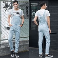 7b8ed4a237af1 Fashion Plus Size 5XL light blue Denim Jumpsuit Spring Baggy cargo pants  Loose jean bib overalls Suspenders Trousers for male 06