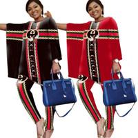 ingrosso abito di marca coreano-Delle donne di marca di lusso vestito da formato 2020 Lettera Nuovo chiffon Primavera Autunno vintage Patchwork increspato vestiti rossi più il vestito da donna coreana 2XL