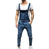 bib tulum denim toptan satış-İndirim Moda erkek Yırtık Kot Tulumlar Sokak Sıkıntılı Delik Adam Için Denim Pantolon Önlük Tulum Askı Pantolon Boyutu M-xxl