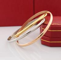 braceletes de pulseira de 14k venda por atacado-Clássico Jóias de Luxo 14 K Rose Gold Love Bangles Pulseira De Aço Titânio Casal Pulseiras para as mulheres Presente de Natal