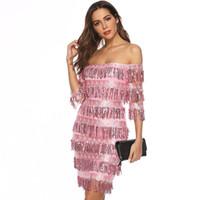 кружевной халат сексуальный розовый оптовых-Сексуальные розовые короткие коктейльные платья до колен 2019 Кружева с пайетками с кисточками и половиной рукавов Вечернее платье Robe De Cocktail Prom