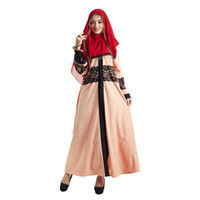 мода исламских платьев оптовых-Muslim Women Long Sleeve Dress Fashion Lace Embroidey Maxi Abaya Dresses Islamic Women Dress Clothing Robe New Arrivals