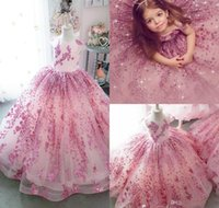 Wholesale bling pageant dresses for girls resale online - Bling Bling Little Girls Pageant Dresses Lace Sequins Cap Sleeve Ball Gown Flower Girl Dress For Wedding Kids Formal Birthday Party Gowns