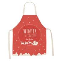 rote küchenschürzen großhandel-1 Stücke Weihnachten Muster Küchenschürze Hause Leinen Schürzen für Frau Abendessen BBQ Party Kochschürze Backen Rot Küche Zubehör