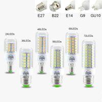 ampoule 5x3w achat en gros de-SMD5730 E27 E12 E14 GU10 B22 ampoules LED G9 7W 9W 12W 15W 18W 110V 220V angle 360 de l'ampoule LED lumière de maïs