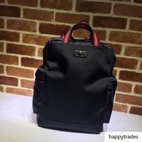 Wholesale handbags men design leather for sale - Group buy Top Quality Celebrity Design Letter Embossed Stripe Strap Canvas Leather Backpack Man Woman Travel Bag Canvas Handbag