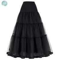Wholesale black tulle crinoline for sale - Group buy Black Red Skirt For Wedding Fashion Vintage Long Women Skirts Crinoline Ball Gown Empire Voile Tulle Petticoat