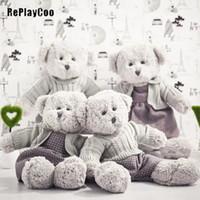 ingrosso coppie orsacchiotti-Coppia Teddy Bear Peluche Giocattoli Tedy Bear Vestiti Peluche Bambole Kawaii Teddy Bears Animali di Peluche Regali J10201
