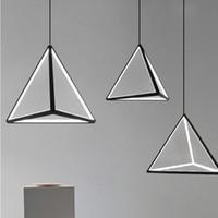 siyah gövde ışıkları toptan satış-Modern Led Kolye Işık Fikstürü Nordic Siyah Üçgen Asılı Lamba Mutfak Oturma Odası Yemek Odası Yatak Odası Ev Ev Dekor