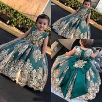 yeşil dantel kanadı toptan satış-2019 Koyu Yeşil Dantel Bir Çizgi Çiçek Kızların Elbiseler Boncuklu Kanat Saten Aplike Kızların Parti Pageant Doğum Günü Partisi prenses Elbiseler