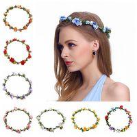 bohem şapkalar toptan satış-Çiçekler Çelenkler Hairband Moda Gelin Bohemian Çiçek Kafa Düğün Çiçek Garland Şapkalar Parti Saç Aksesuarları TTA1578