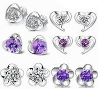 channel großhandel-Ohrringe für Frauen Modeschmuck New Korean Crystal Channel Ohrstecker Ohrring Hochzeit Ring Großhandel Günstige 925 Sterling Silber Ohrstecker